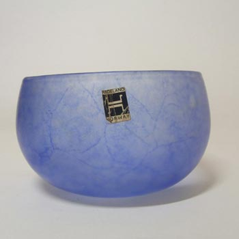 Hadeland Norwegian Blue Satin Glass Bowl - Labelled
