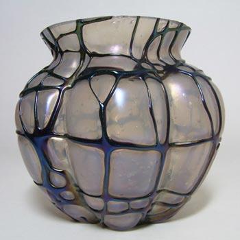 Kralik Art Nouveau 1900's Iridescent Threaded Glass Vase