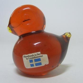 Lindshammar Swedish Orange Glass Bird Paperweight - Labelled