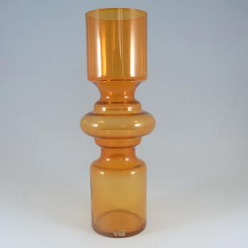 Lindshammar Gunnar Ander Swedish Orange Glass Vase - Label