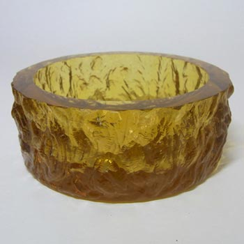 Davidson 70s British Amber Bark Textured Glass 'Luna' Bowl