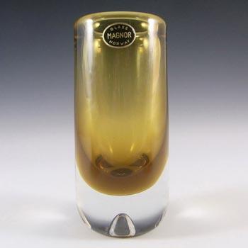 Magnor Norwegian 1970's Amber Glass Vase - Labelled