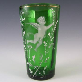 Mary Gregory Bohemian Hand Enamelled Green Glass Tumbler