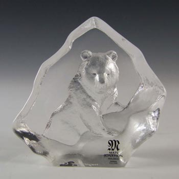Mats Jonasson #88131 Glass Bear Paperweight - Signed