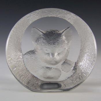 Mats Jonasson #9176 Glass Cat Paperweight - Signed