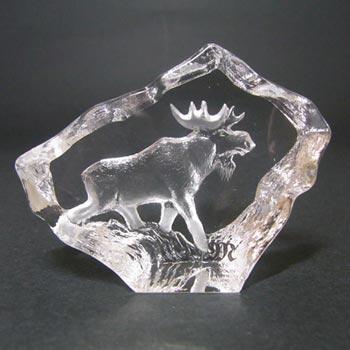 Mats Jonasson #88130 Glass Moose Paperweight - Boxed