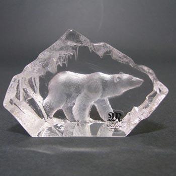 Mats Jonasson #88117 Glass Polar Bear Paperweight - Signed