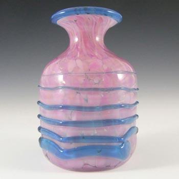 Mdina Maltese Pink Speckled Glass Vase w/ Blue Trailing