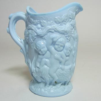 Antique 1890's Victorian Blue Milk Glass Creamer - Silenus