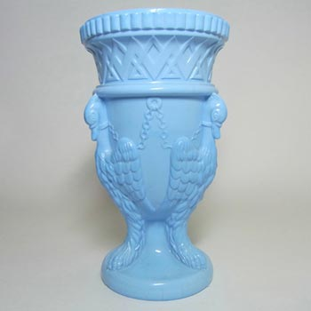 Edward Moore Victorian Blue Milk Glass Griffins Vase