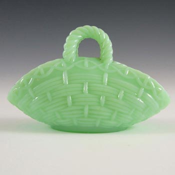 Vallérysthal Victorian Green Milk Glass Basket Bowl - Marked