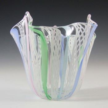Murano Zanfirico Filigree Glass Handkerchief Vase
