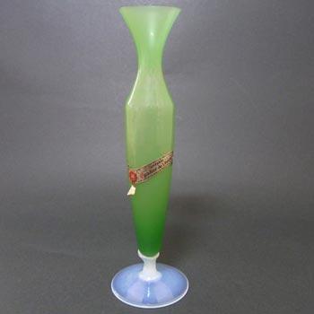 V Nason Green Opalescent Murano Glass Labelled Vase