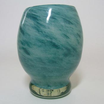 Nazeing Clouded Turquoise Bubble Glass 'Barrel' Vase