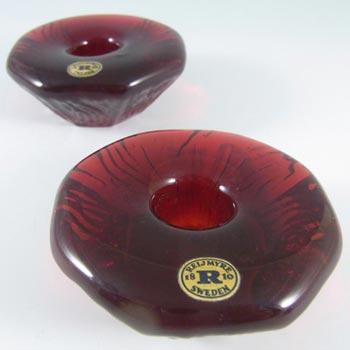 Reijmyre Swedish Orange Glass Candlestick Holders - Label