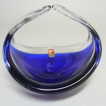 Ryd 1970's Swedish Blue Cased Glass Bowl - Labelled