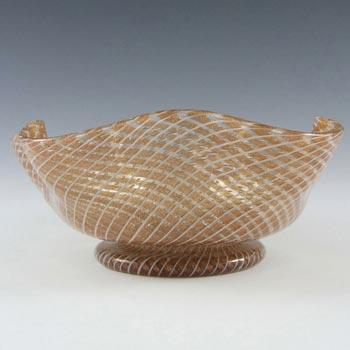 Salviati Filigree & Copper Aventurine Glass Bowl