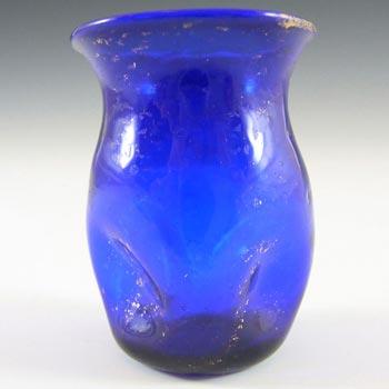 Salviati Murano Blue Glass Gold Leaf Vase
