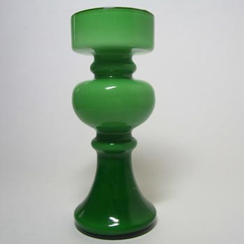 Empoli 1970's Italian Green Cased Glass Hooped Vase