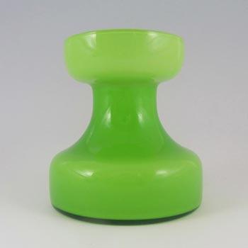 Empoli 1970's Italian Acid Green Cased Glass Retro Vase