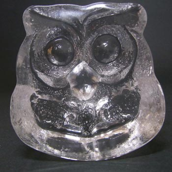 Skruf Swedish Glass Owl Paperweight - Labelled