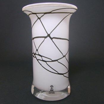 Skruf Swedish Black + White Cased Glass Vase - Labelled