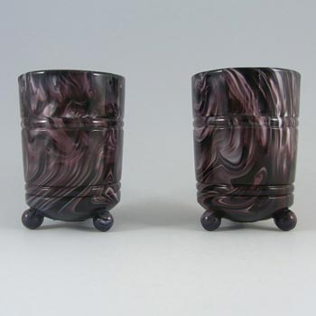 Pair of Victorian 1890's Purple Malachite/Slag Glass Vases