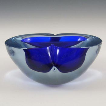 Murano Geode Blue Sommerso Glass Figure Eight Bowl
