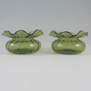 Pair of Stourbridge Victorian Green Glass Posy Vases