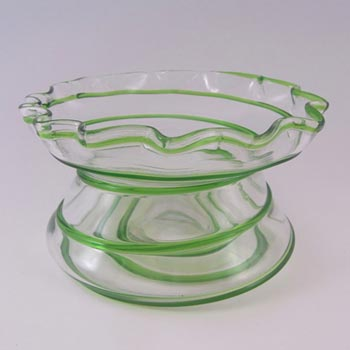 Victorian Green & Clear Glass Vase with Applied Trailing
