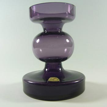 Alfred Taube Purple Glass Candle Holder / Vase - Labelled