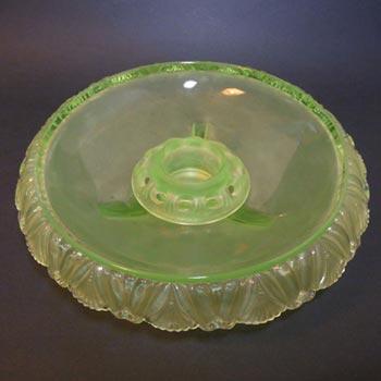 Walther Art Deco Uranium Glass Pelikan Centerpiece Bowl