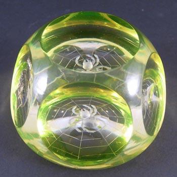 Webb Corbett Vaseline/Uranium Glass Spider Web Paperweight