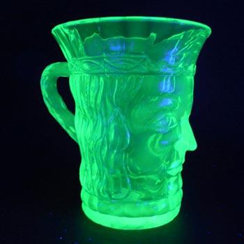 Czech? Art Deco Uranium Glass Kings Head Face Tankard