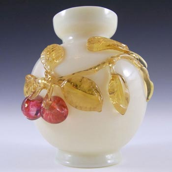 Victorian Uranium Custard Glass Amber & Red Cherry Vase