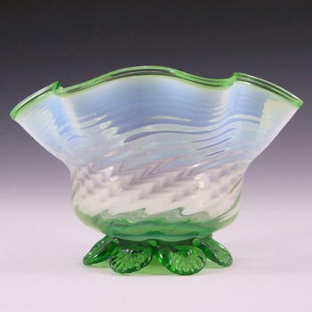 Victorian 1890's Green & Opalescent White Glass Bowl
