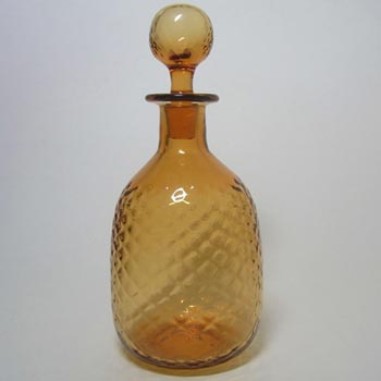 Thomas Webb Golden Amber British Glass Decanter - Marked