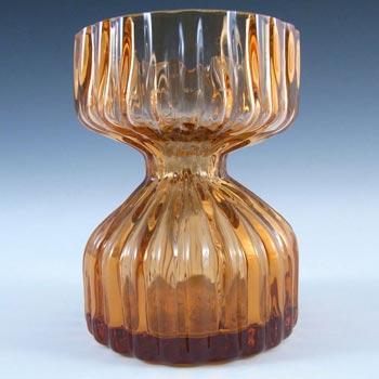 Wedgwood Topaz Amber Glass Candlestick/Posy Vase RSW58
