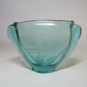 Zelezny Brod Czech Turquoise Glass Engraved 'Heron' Vass