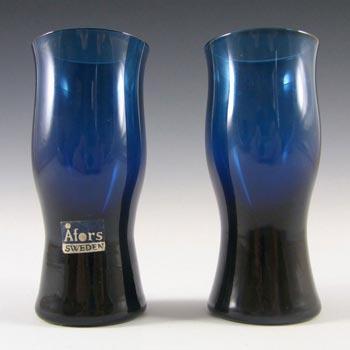 Afors Pair of Swedish Blue Glass Vases - Labelled