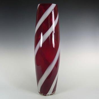 Alrose Massive Italian Empoli Red & White Glass Vase