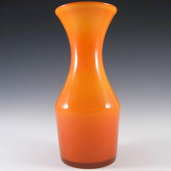 Alsterfors 1970's Scandinavian Orange Cased Glass Vase