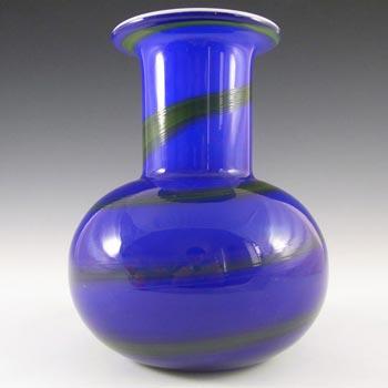 Alsterfors #S5104 Blue & Green Glass Vase Signed P. Strom 69