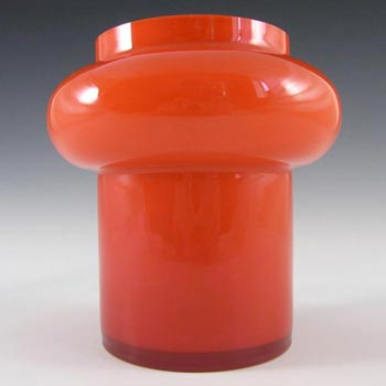 Alsterfors #S5013 Red Cased Glass Vase Signed Per Olof Strom '68