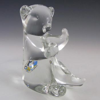 SIGNED FM Konstglas/Ronneby Swedish Glass Bear - Label