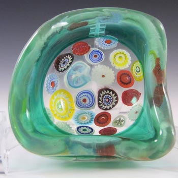 Archimede Seguso Murano Incalmo Millefiori Turquoise Glass Bowl
