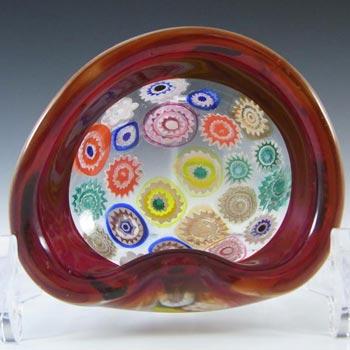 Archimede Seguso Murano Incalmo Millefiori Red Glass Bowl