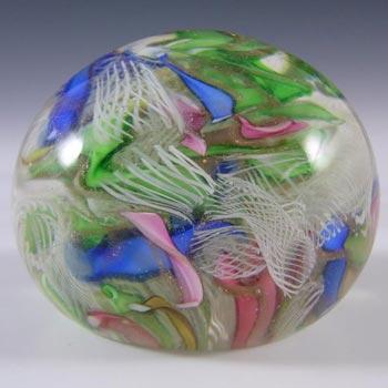 AVeM Murano 1950's Zanfirico + Aventurine Glass Paperweight