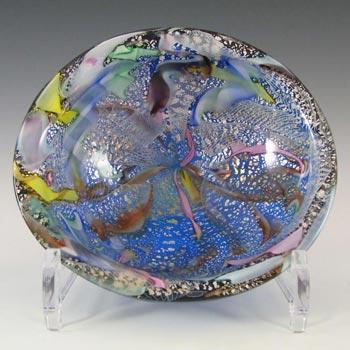AVeM Murano 1950's Zanfirico + Aventurine Blue Glass Bowl