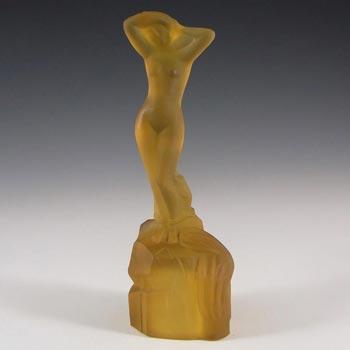 Bagley Art Deco Amber Glass 'Andromeda' Nude Lady Figurine